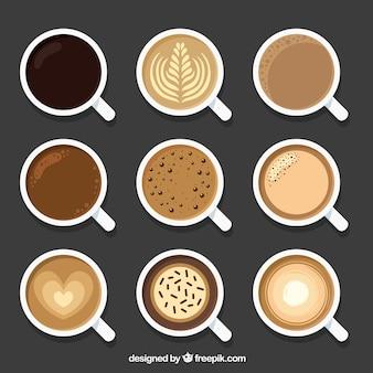 Taza de café plana con vista superior
