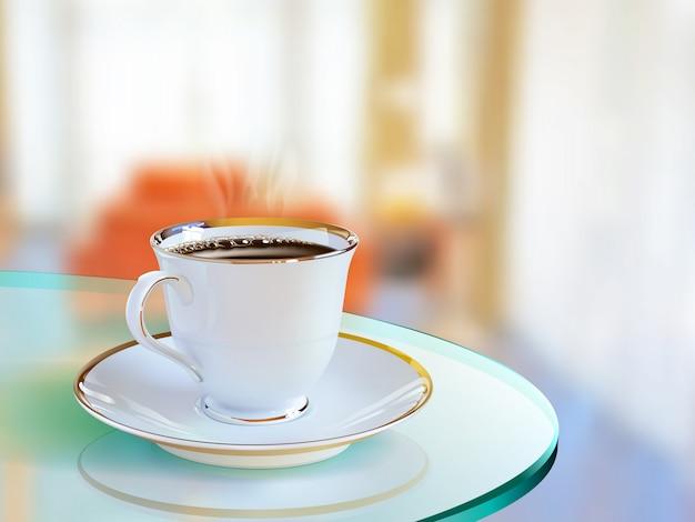 Taza de café realista de arte vectorial en sala de estar