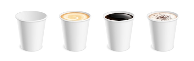 Taza de café realista blanca. taza caliente de café con leche, moca, cacao, capuchino, americano o espresso para el desayuno. conjunto de vector de bebida para llevar 3d aislado. taza de capuchino, taza moka ilustración