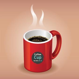 Taza de café rojo sobre marrón