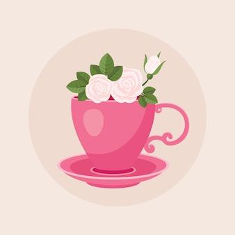 Taza de café rosa con rosas dentro de la ilustración de dibujos animados de vector