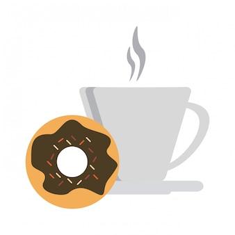 Taza de café y rosquilla