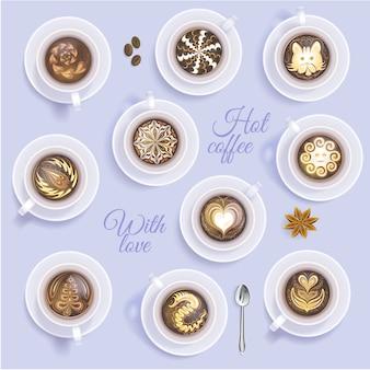 Taza de café vector coffeecup y beber café caliente o capuchino con dibujo artístico en coffeeshop