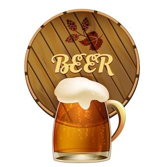 Taza de cerveza espumosa en una jarra de vidrio con burbujas efervescentes frente a un barril de roble redondo o barril con la palabra - cerveza - como una ilustración de vector de emblema de pub o bar en blanco
