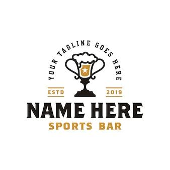 Taza y cerveza ophy para el logo de retro sport bar