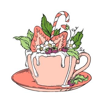 Taza de chocolate caliente con fresas dibujado a mano ilustración.