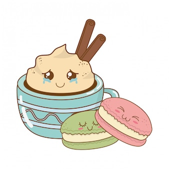 Taza de chocolate con galletas kawaii personajes