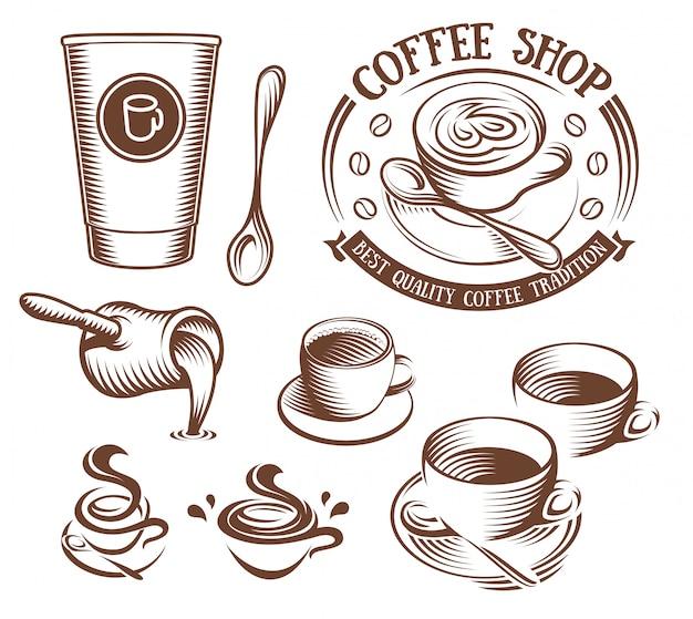 Taza de color marrón aislada en logos de estilo retro en blanco