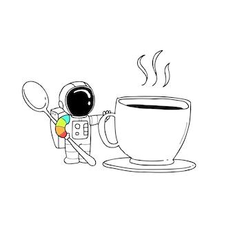 Taza de café astronauta