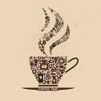Taza de café hecha de iconos de café