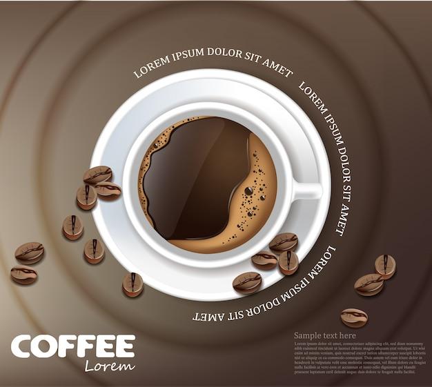 Taza de café, maqueta, tarjeta