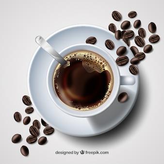 Taza de café realista con vista superior