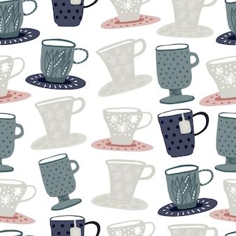 Taza dibujada a mano siluetas de patrones sin fisuras. doodle simple telón de fondo.