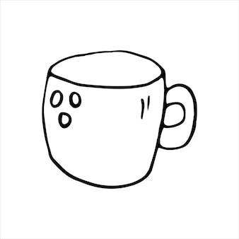 Taza dibujada con una sola mano de café, chocolate, cacao, americano o capuchino. ilustración de vector de doodle.