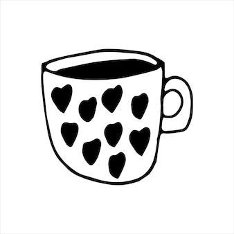 Taza dibujada con una sola mano de café, chocolate, cacao, americano o capuchino. con patrón de corazones. ilustración de vector de doodle.