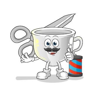 Taza de dibujos animados de peluquero. mascota de dibujos animados