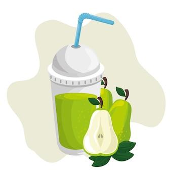 Una taza de jugo de pera con el icono de paja