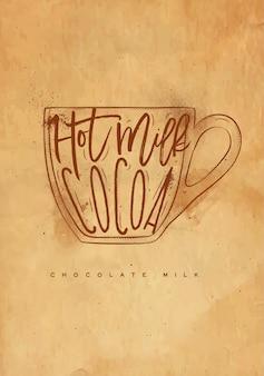 Taza de leche con chocolate que pone letras a la leche caliente, cacao en un dibujo de estilo gráfico vintage con artesanía