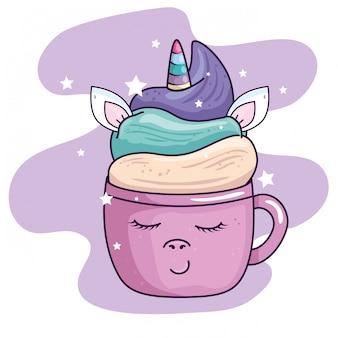 Taza linda unicornio con decoración de estrellas estilo kawaii ilustración vectorial diseño