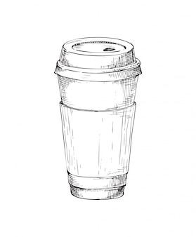 Taza de papel café dibujado a mano monocromo