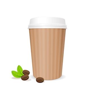 Taza de papel de café con frijoles. recipiente para café aislado sobre fondo blanco.
