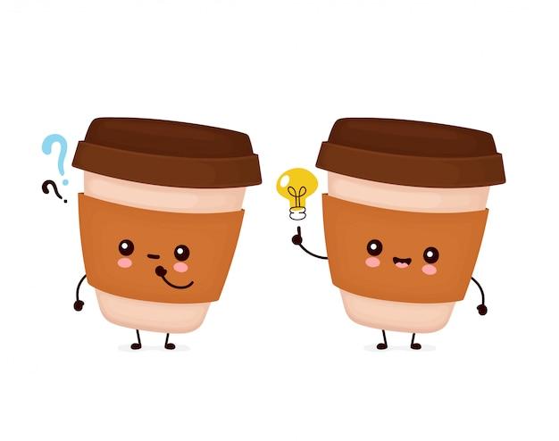 Taza de papel café lindo feliz con signo de interrogación y bombilla de idea.