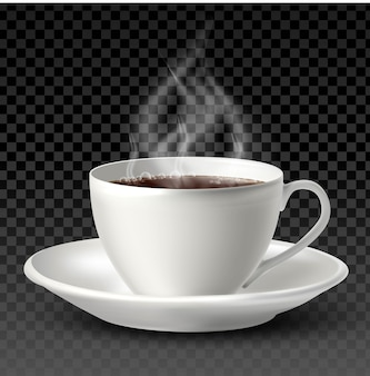 Taza de porcelana blanca con té o café en el interior y un plato sobre fondo blanco.