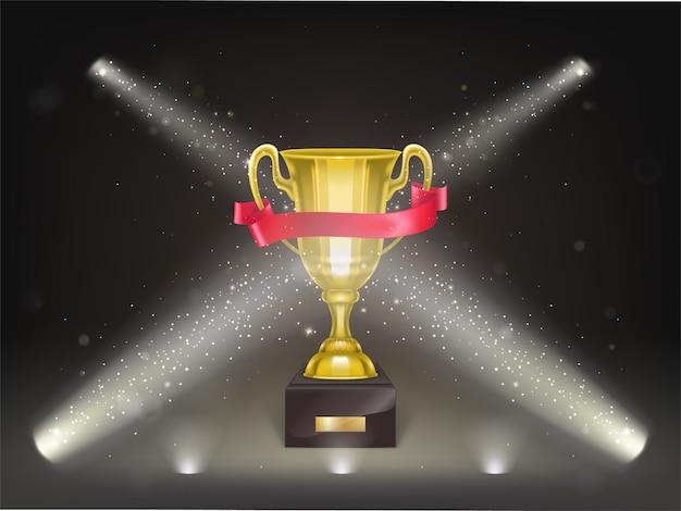 Taza realista 3d en pedestal con cinta roja en el escenario. trofeo de oro en escena