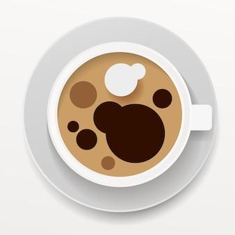 Taza realista del café con leche aislada en el fondo blanco. plantilla de vector para el diseño. vector