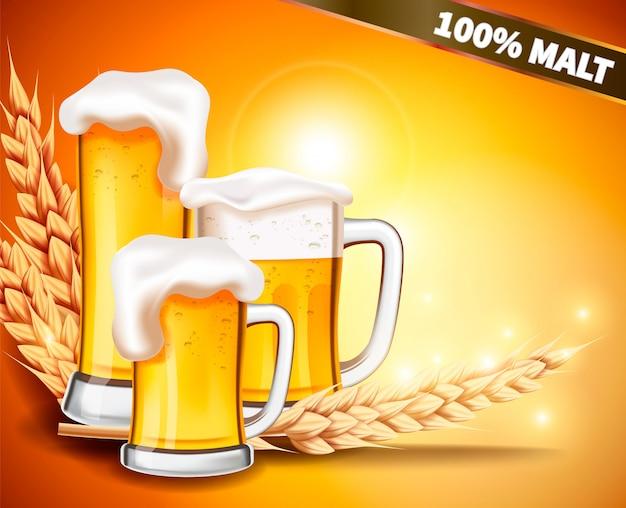 Taza realista vector con cerveza espumosa