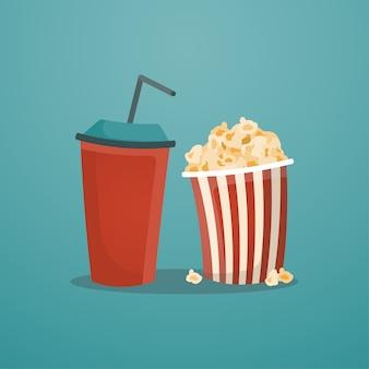 Taza de refresco de papel rojo y cubo de palomitas de maíz