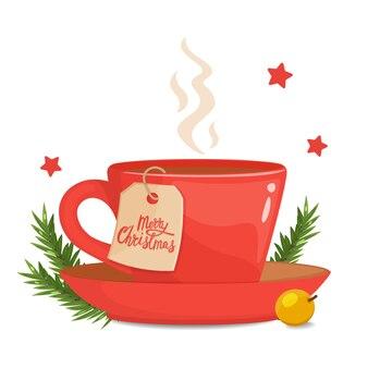 Taza roja con bayas, rama de abeto y navidad. concepto de humor navideño