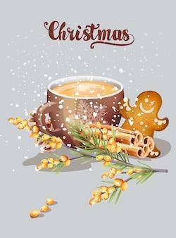 Taza roja con capuchino y adornos navideños