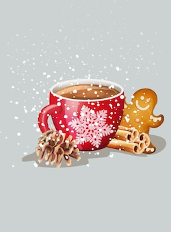 Taza roja con chocolate caliente y adornos navideños