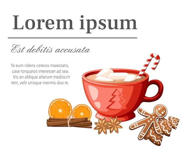 Taza roja de chocolate caliente o café con bastón de caramelo y malvaviscos ilustración sobre fondo blanco.