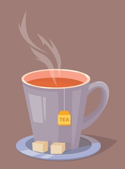 Taza de té con azúcar en un plato