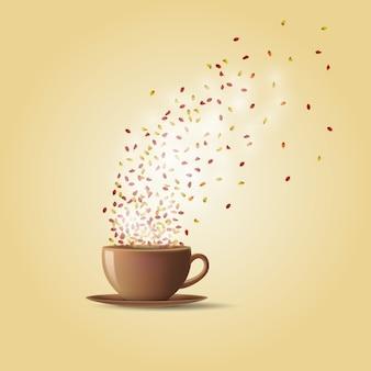 Una taza de té caliente con hojas de otoño.
