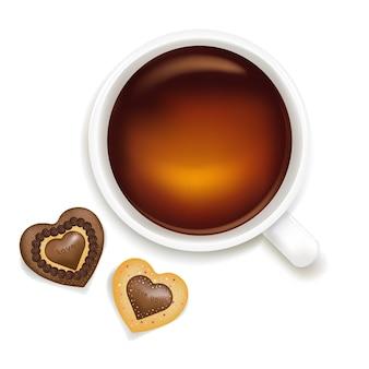 Taza de té con galletas, aislado sobre fondo blanco,