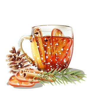 Taza de té de invierno con rodajas de canela y naranja