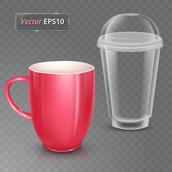 Taza para té o café. vaso de cerámica y vaso de plástico.