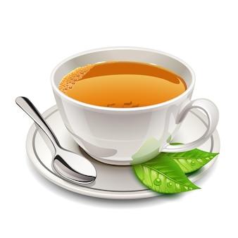 Taza de té en un plato y una cuchara