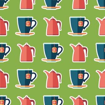 Taza de té y tetera arte plano de patrones sin fisuras.