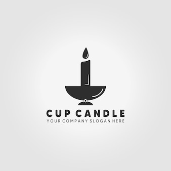 Taza vela luz logo diseño ilustración vectorial icono vintage