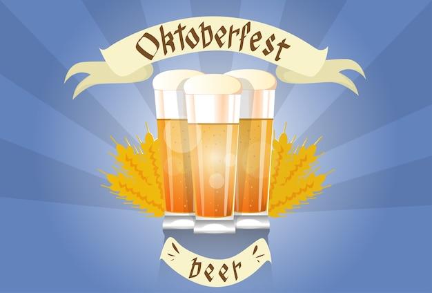 Taza del vidrio de cerveza bandera del festival de oktoberfest