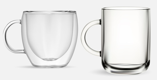 Taza de vidrio. taza de té de vidrio transparente, ilustración aislada sobre fondo blanco. taza de café con doble pared. tarro de capuchino caliente realista, juego de cristalería de cocina