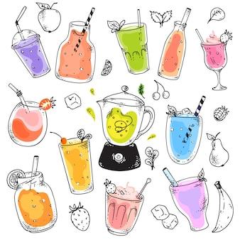 Tazas de batido. conjunto de postres naturales de cóctel de frutas crudas en vasos. bebida de vitaminas dulces para una nutrición saludable. bebidas batidas en tazas con pajitas, cubitos de hielo, colección de bocetos de hojas de menta