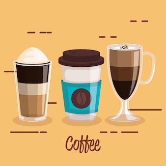 Las tazas de café establecen diferentes tipos de bebidas