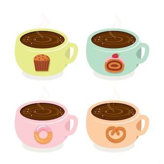 Tazas de café lindo panadería