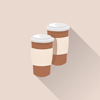 Tazas de café de papel desechables con larga sombra