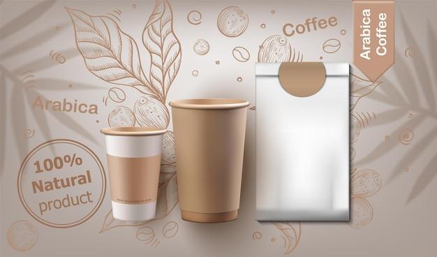 Tazas de café y set de paquete realista.